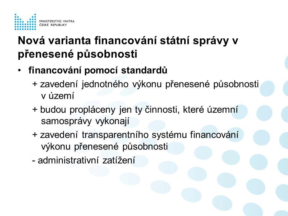 Nová varianta financování státní správy v přenesené působnosti financování pomocí standardů + zavedení jednotného výkonu přenesené působnosti v území + budou propláceny jen ty činnosti, které územní samosprávy vykonají + zavedení transparentního systému financování výkonu přenesené působnosti - administrativní zatížení