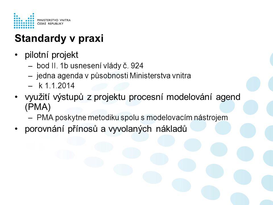 Standardy v praxi pilotní projekt –bod II. 1b usnesení vlády č. 924 –jedna agenda v působnosti Ministerstva vnitra – k 1.1.2014 využití výstupů z proj