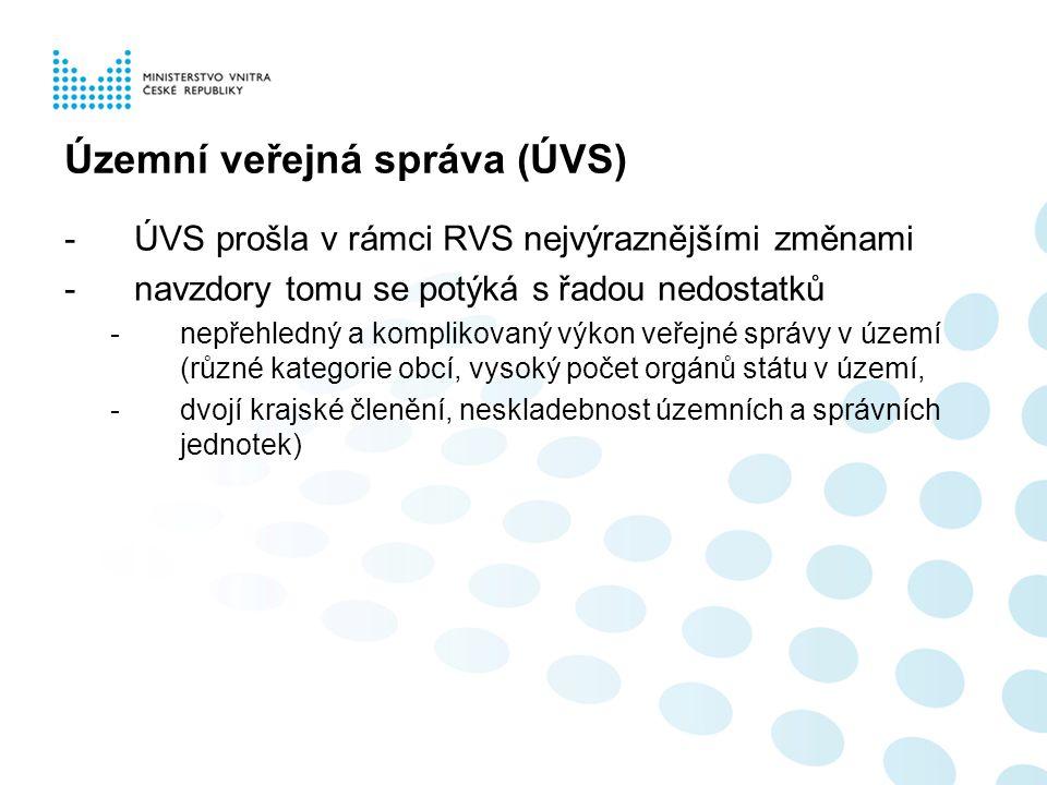 Územní veřejná správa (ÚVS) -ÚVS prošla v rámci RVS nejvýraznějšími změnami -navzdory tomu se potýká s řadou nedostatků -nepřehledný a komplikovaný vý