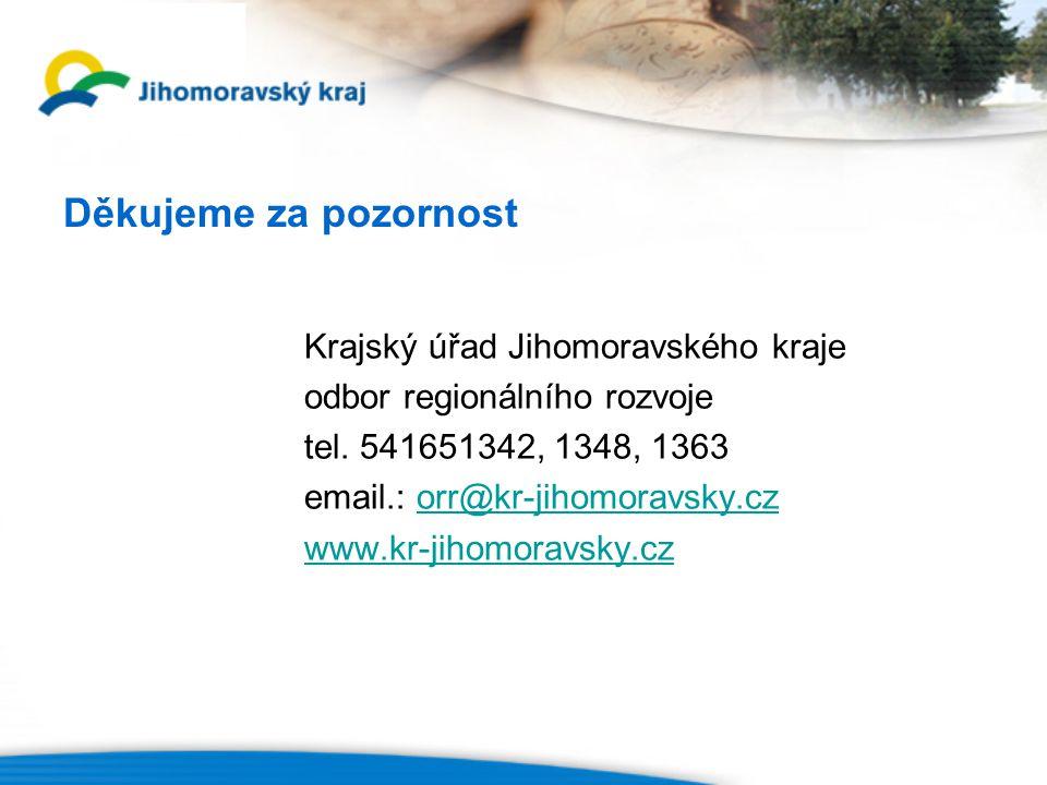 Děkujeme za pozornost Krajský úřad Jihomoravského kraje odbor regionálního rozvoje tel.
