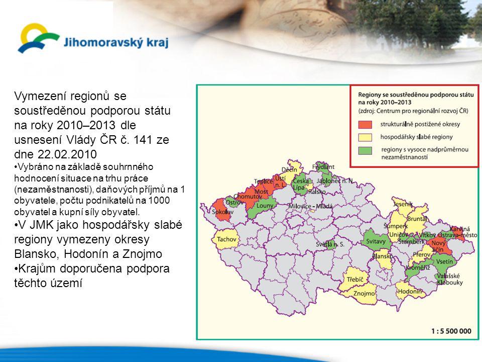 Vymezení regionů se soustředěnou podporou státu na roky 2010–2013 dle usnesení Vlády ČR č.