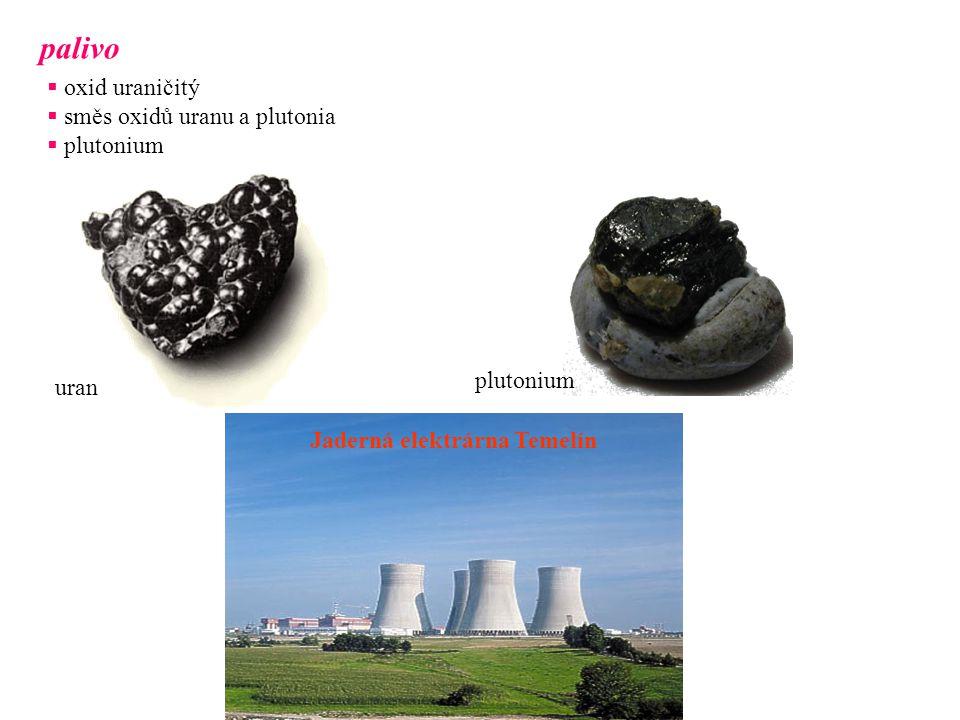palivo  oxid uraničitý  směs oxidů uranu a plutonia  plutonium uran plutonium Jaderná elektrárna Temelín