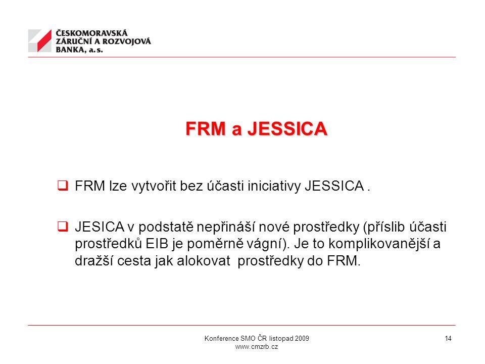 14 FRM a JESSICA FRM a JESSICA  FRM lze vytvořit bez účasti iniciativy JESSICA.  JESICA v podstatě nepřináší nové prostředky (příslib účasti prostře