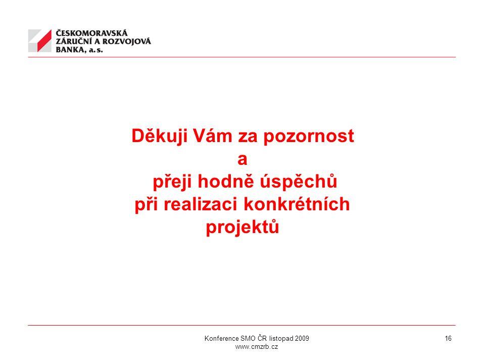 Konference SMO ČR listopad 2009 www.cmzrb.cz 16 Děkuji Vám za pozornost a přeji hodně úspěchů při realizaci konkrétních projektů