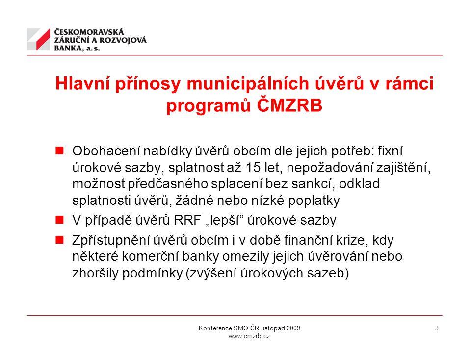 """Hlavní přínosy municipálních úvěrů v rámci programů ČMZRB Obohacení nabídky úvěrů obcím dle jejich potřeb: fixní úrokové sazby, splatnost až 15 let, nepožadování zajištění, možnost předčasného splacení bez sankcí, odklad splatnosti úvěrů, žádné nebo nízké poplatky V případě úvěrů RRF """"lepší úrokové sazby Zpřístupnění úvěrů obcím i v době finanční krize, kdy některé komerční banky omezily jejich úvěrování nebo zhoršily podmínky (zvýšení úrokových sazeb) Konference SMO ČR listopad 2009 www.cmzrb.cz 3"""