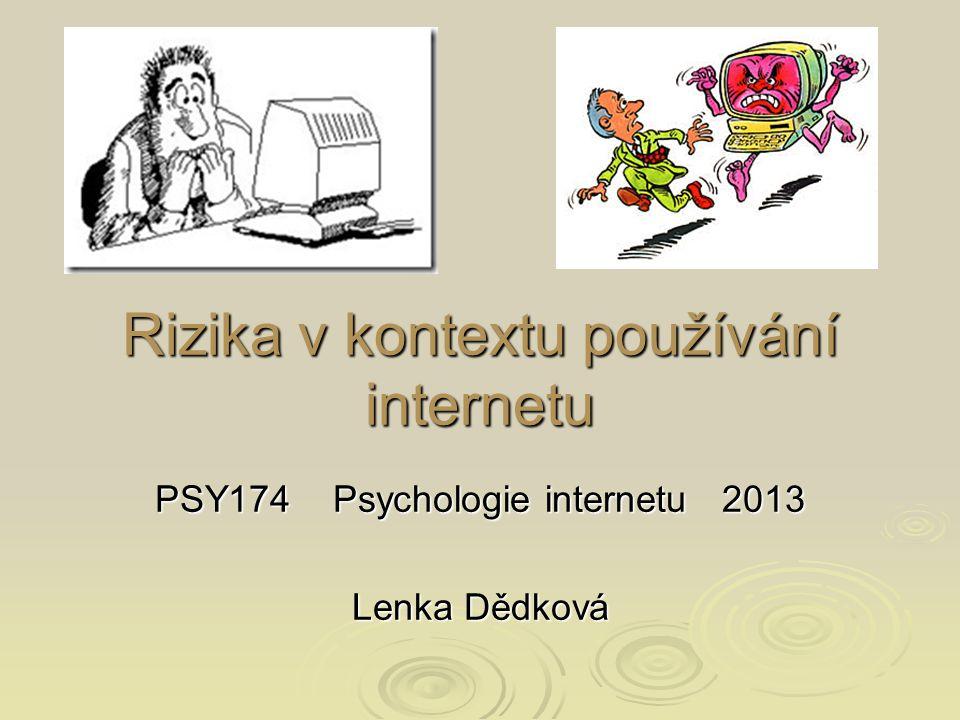 Rizika v kontextu používání internetu PSY174 Psychologie internetu 2013 Lenka Dědková
