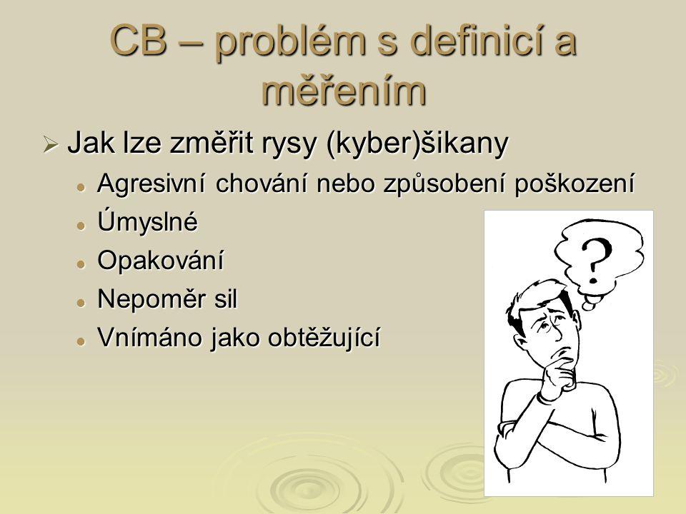 CB – problém s definicí a měřením  Jak lze změřit rysy (kyber)šikany Agresivní chování nebo způsobení poškození Agresivní chování nebo způsobení poškození Úmyslné Úmyslné Opakování Opakování Nepoměr sil Nepoměr sil Vnímáno jako obtěžující Vnímáno jako obtěžující