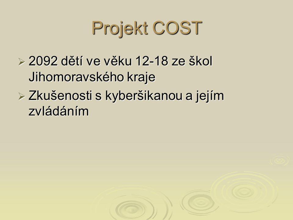 Projekt COST  2092 dětí ve věku 12-18 ze škol Jihomoravského kraje  Zkušenosti s kyberšikanou a jejím zvládáním