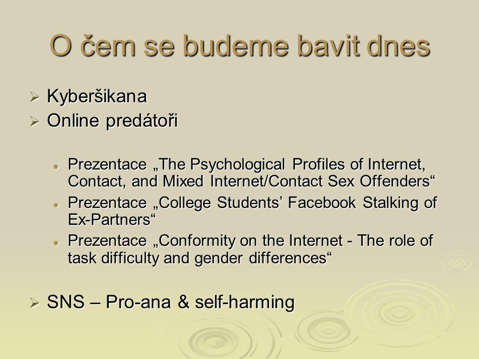 Mýtus x realita  (viz Wolak et al., 2004 & 2008)  Mediální obraz – staří pedofilové, deviantní, kriminálníci, lžou, jsou agresivní, cestují daleko, předstírají, že jsou stejného věku…  Skutečnost – nebývají pedofilní – zaměřují se na adolescenty, ne na prepubescentní děti Hebefilie – není sex.