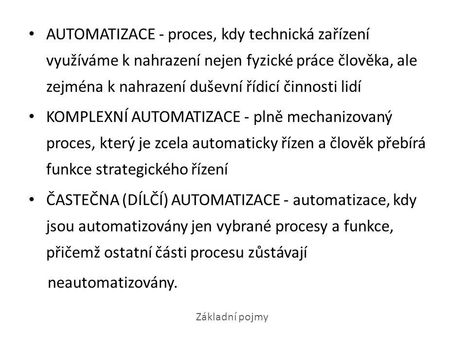 AUTOMATIZACE VÝROBNÍCH PROCESŮ - předmětem tohoto druhu automatizace jsou hlavní a obslužné procesy v různých druzích výrob.