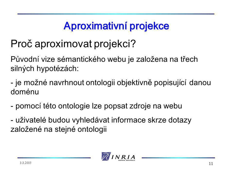 3.3.2005 11 Aproximativní projekce Proč aproximovat projekci.