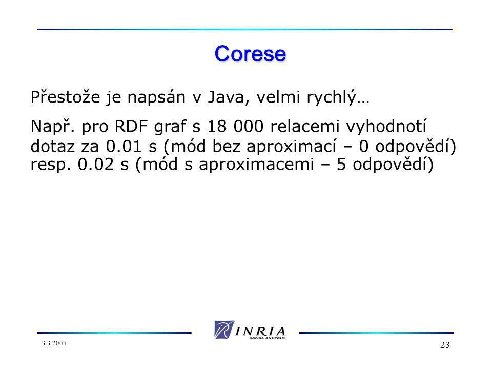 3.3.2005 23 Corese Přestože je napsán v Java, velmi rychlý… Např.