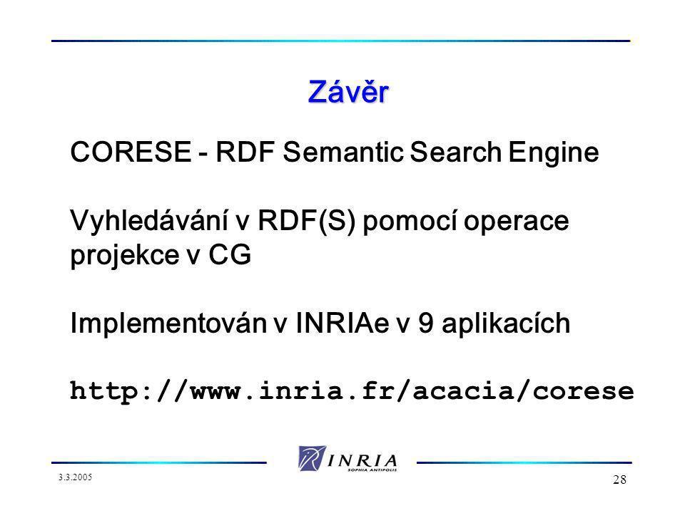 3.3.2005 28 Závěr CORESE - RDF Semantic Search Engine Vyhledávání v RDF(S) pomocí operace projekce v CG Implementován v INRIAe v 9 aplikacích http://www.inria.fr/acacia/corese