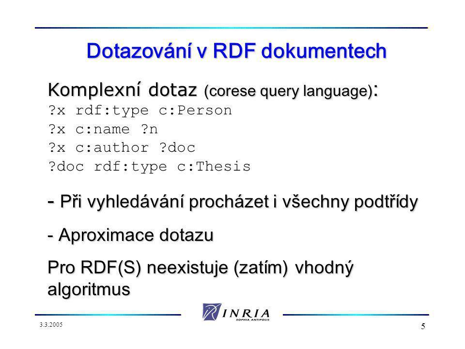 3.3.2005 5 Dotazování v RDF dokumentech Komplexní dotaz (corese query language) : x rdf:type c:Person x c:name n x c:author doc doc rdf:type c:Thesis - Při vyhledávání procházet i všechny podtřídy - Aproximace dotazu Pro RDF(S) neexistuje (zatím) vhodný algoritmus