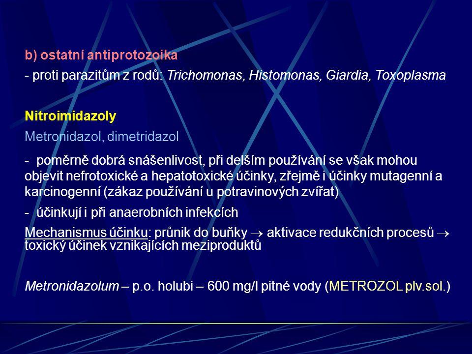 b) ostatní antiprotozoika - proti parazitům z rodů: Trichomonas, Histomonas, Giardia, Toxoplasma Nitroimidazoly Metronidazol, dimetridazol - poměrně d