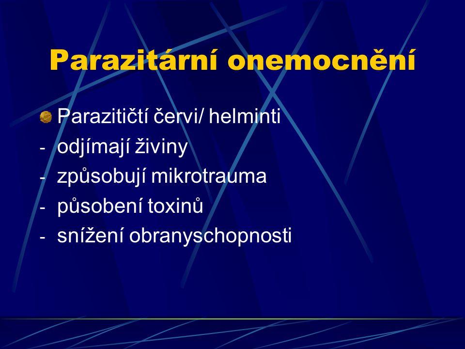 Parazitární onemocnění Parazitičtí červi/ helminti - odjímají živiny - způsobují mikrotrauma - působení toxinů - snížení obranyschopnosti