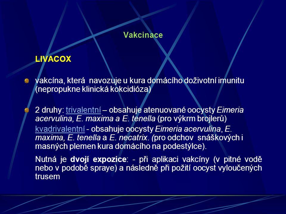 Vakcinace LIVACOX vakcína, která navozuje u kura domácího doživotní imunitu (nepropukne klinická kokcidióza) 2 druhy: trivalentní – obsahuje atenuovan