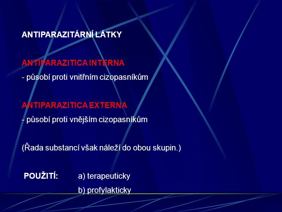 ANTIPARAZITÁRNÍ LÁTKY ANTIPARAZITICA INTERNA - působí proti vnitřním cizopasníkům ANTIPARAZITICA EXTERNA - působí proti vnějším cizopasníkům (Řada sub