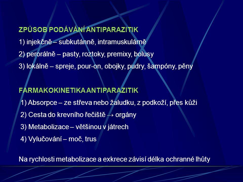ROZDĚLENÍ ANTIPARAZITIK PODLE CÍLOVÉHO CIZOPASNÍKA 1) Antiprotozoika – účinné proti jednobuněčným parazitům 2) Antitrematoda – účinné proti motolicím 3) Anticestoda – účinné proti tasemnicím 4) Antinematoda – účinné proti oblým červům Pozn: 2+3+4 = Antihelmintika