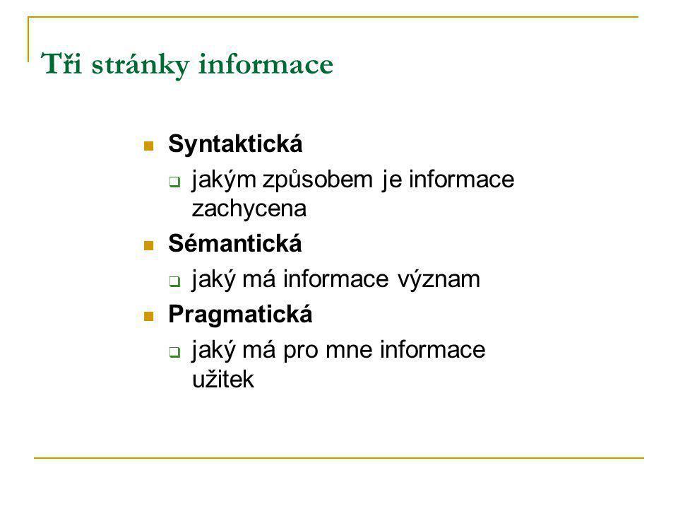 Tři stránky informace Syntaktická  jakým způsobem je informace zachycena Sémantická  jaký má informace význam Pragmatická  jaký má pro mne informace užitek