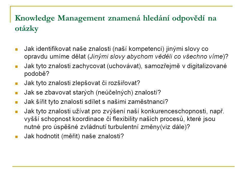 Knowledge Management znamená hledání odpovědí na otázky Jak identifikovat naše znalosti (naší kompetenci) jinými slovy co opravdu umíme dělat (Jinými slovy abychom věděli co všechno víme).