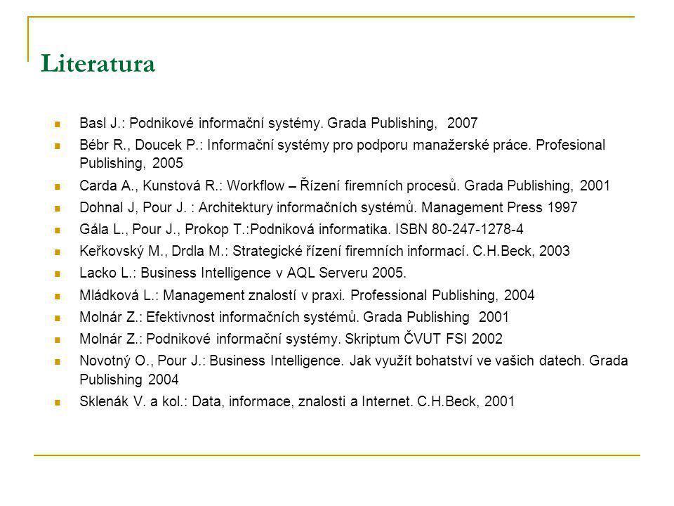 Literatura (2) Učeň a kol.: Metriky v informatice..