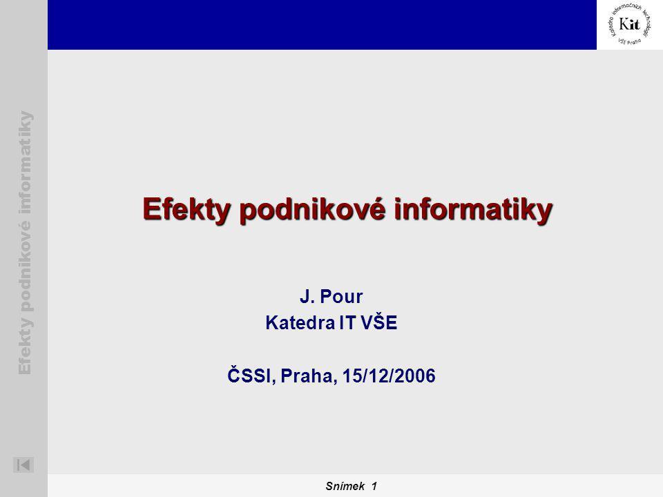 Snímek 1 Efekty podnikové informatiky J. Pour Katedra IT VŠE ČSSI, Praha, 15/12/2006