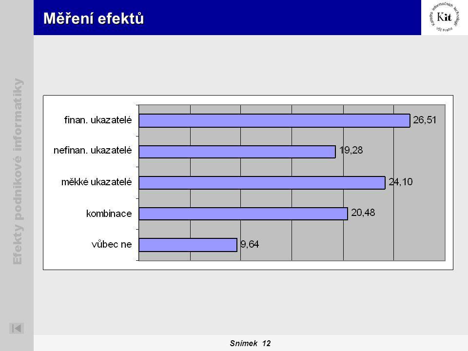 Snímek 12 Efekty podnikové informatiky Měření efektů