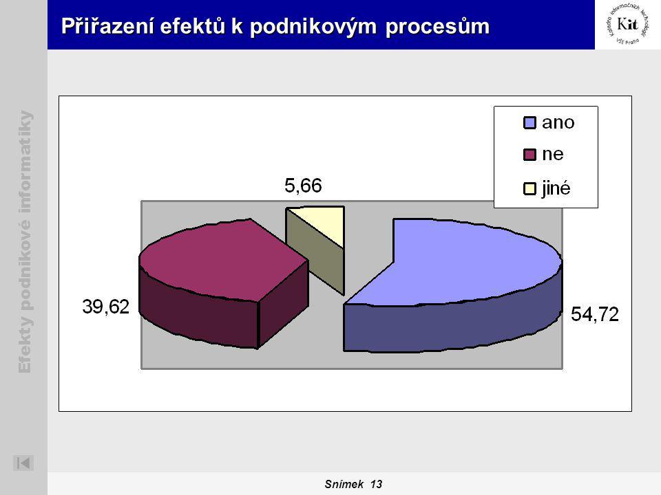 Snímek 13 Efekty podnikové informatiky Přiřazení efektů k podnikovým procesům