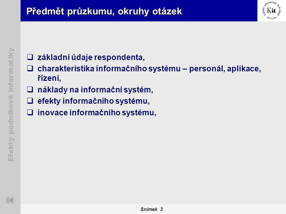 Snímek 3 Efekty podnikové informatiky Předmět průzkumu, okruhy otázek  základní údaje respondenta,  charakteristika informačního systému – personál, aplikace, řízení,  náklady na informační systém,  efekty informačního systému,  inovace informačního systému,