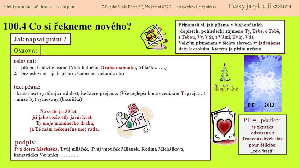 100.5 Procvičení a příklady Elektronická učebnice - I.