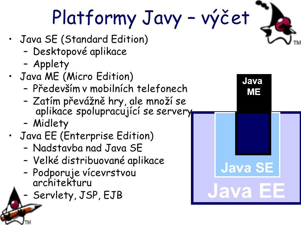 Platformy Javy – výčet Java SE (Standard Edition) –Desktopové aplikace –Applety Java ME (Micro Edition) –Především v mobilních telefonech –Zatím převá