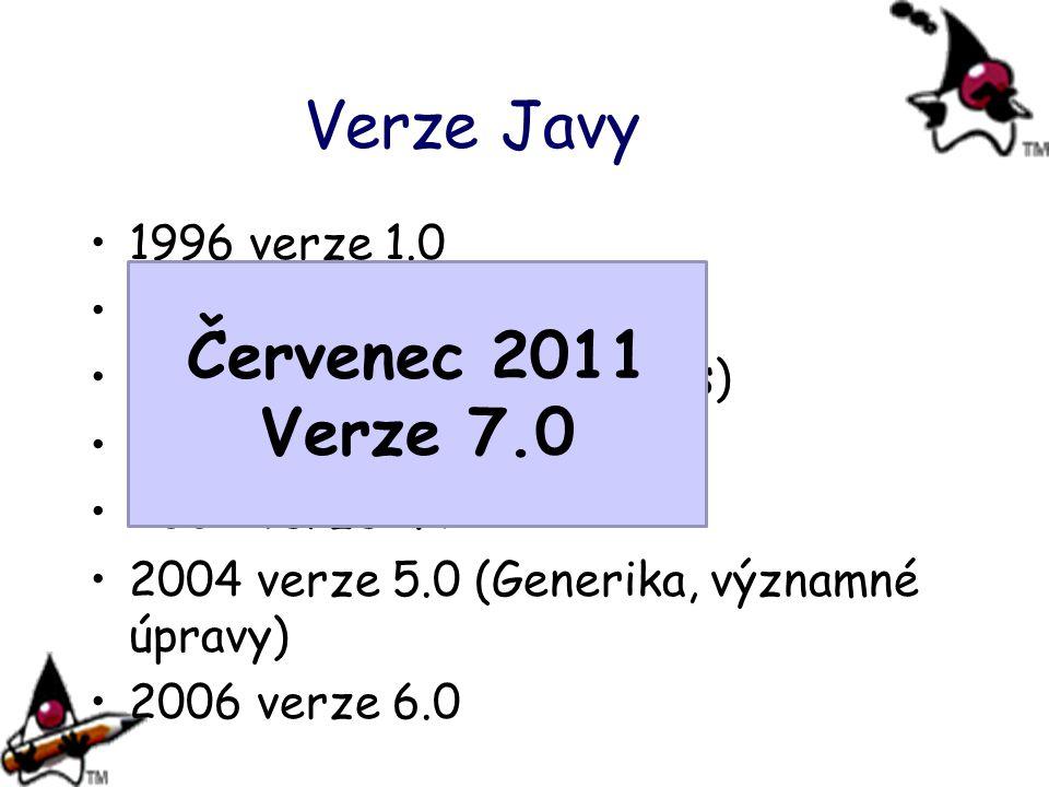 Verze Javy 1996 verze 1.0 1997 verze 1.1 (JDBC) 1998 verze 1.2 (Collections) 2000 verze 1.3 (HotSpot) 2002 verze 1.4 2004 verze 5.0 (Generika, významné úpravy) 2006 verze 6.0 Červenec 2011 Verze 7.0