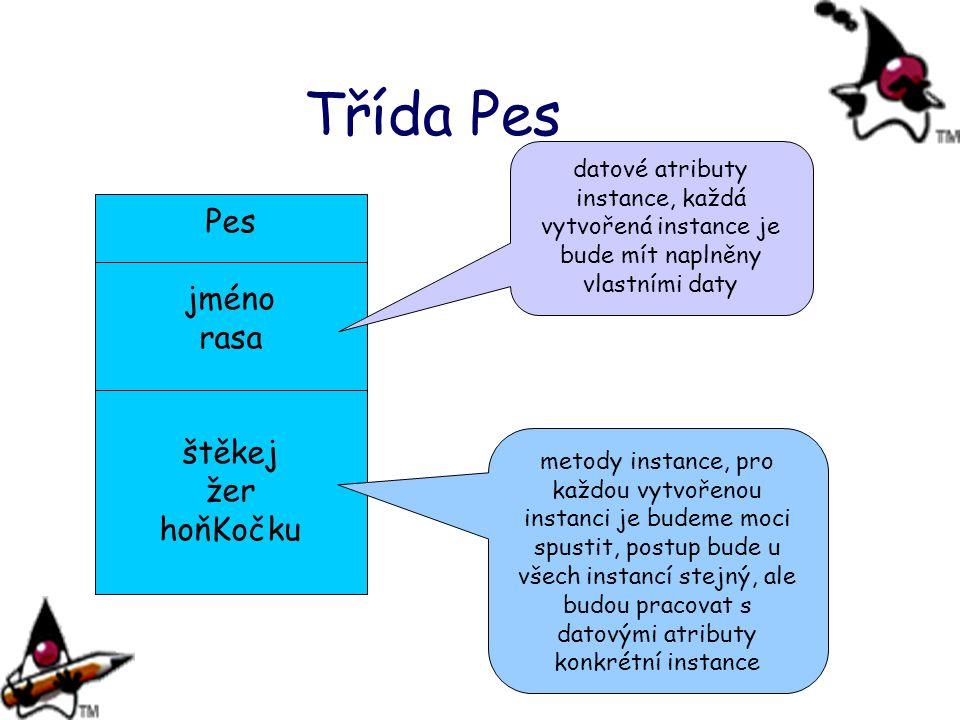 Třída Pes Pes jméno rasa štěkej žer hoňKočku datové atributy instance, každá vytvořená instance je bude mít naplněny vlastními daty metody instance, pro každou vytvořenou instanci je budeme moci spustit, postup bude u všech instancí stejný, ale budou pracovat s datovými atributy konkrétní instance