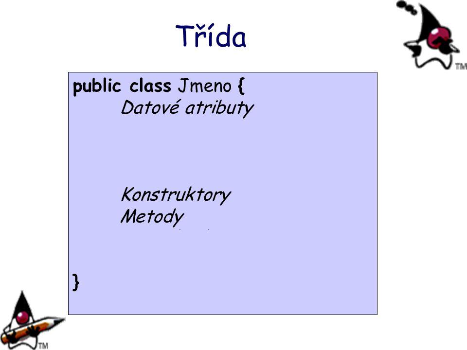 public class Jmeno { Datové atributy Statické proměnné Statický inicializační blok Statické metody Konstruktory Metody Vnitřní třídy Statické vnitřní