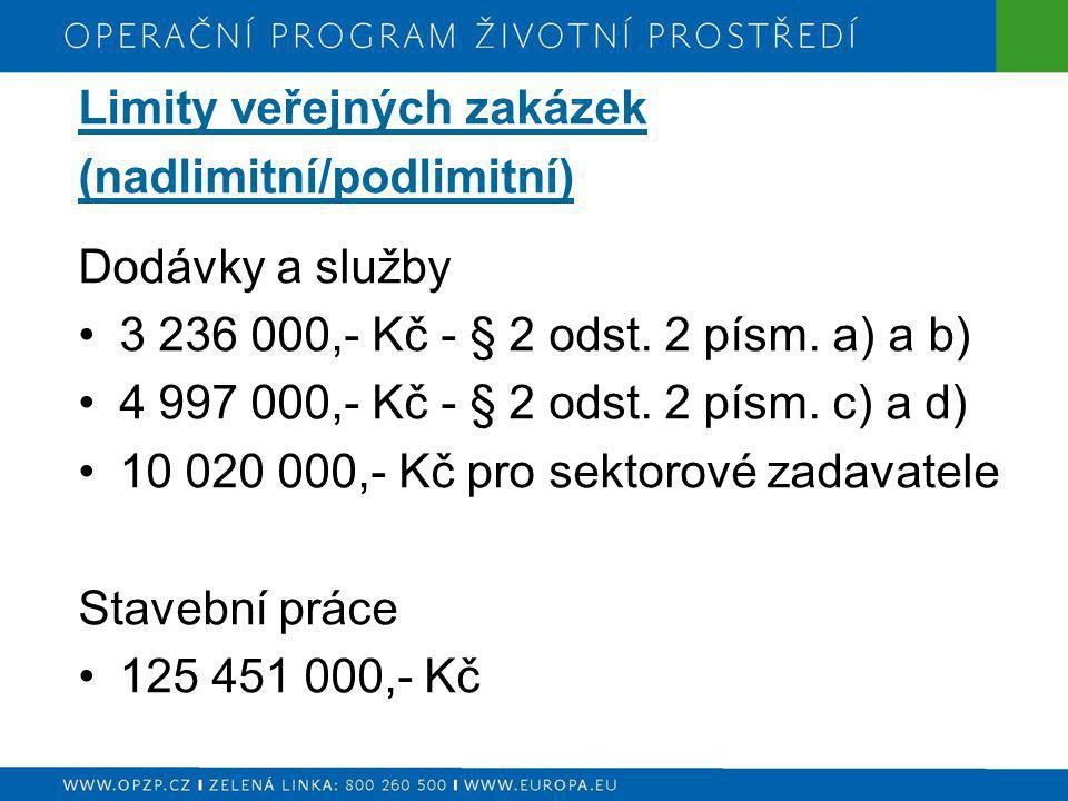 Limity veřejných zakázek (nadlimitní/podlimitní) Dodávky a služby 3 236 000,- Kč - § 2 odst. 2 písm. a) a b) 4 997 000,- Kč - § 2 odst. 2 písm. c) a d