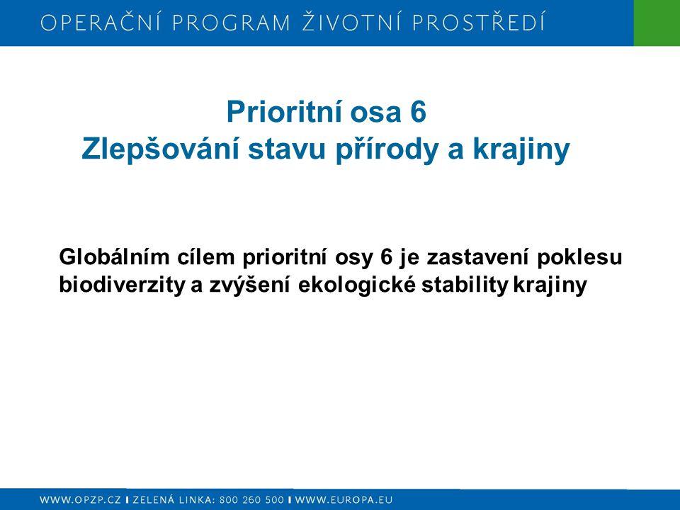Prioritní osa 6 Zlepšování stavu přírody a krajiny Globálním cílem prioritní osy 6 je zastavení poklesu biodiverzity a zvýšení ekologické stability krajiny