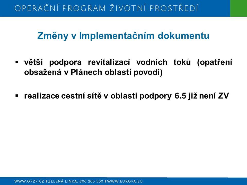 Změny v Implementačním dokumentu  větší podpora revitalizací vodních toků (opatření obsažená v Plánech oblastí povodí)  realizace cestní sítě v oblasti podpory 6.5 již není ZV