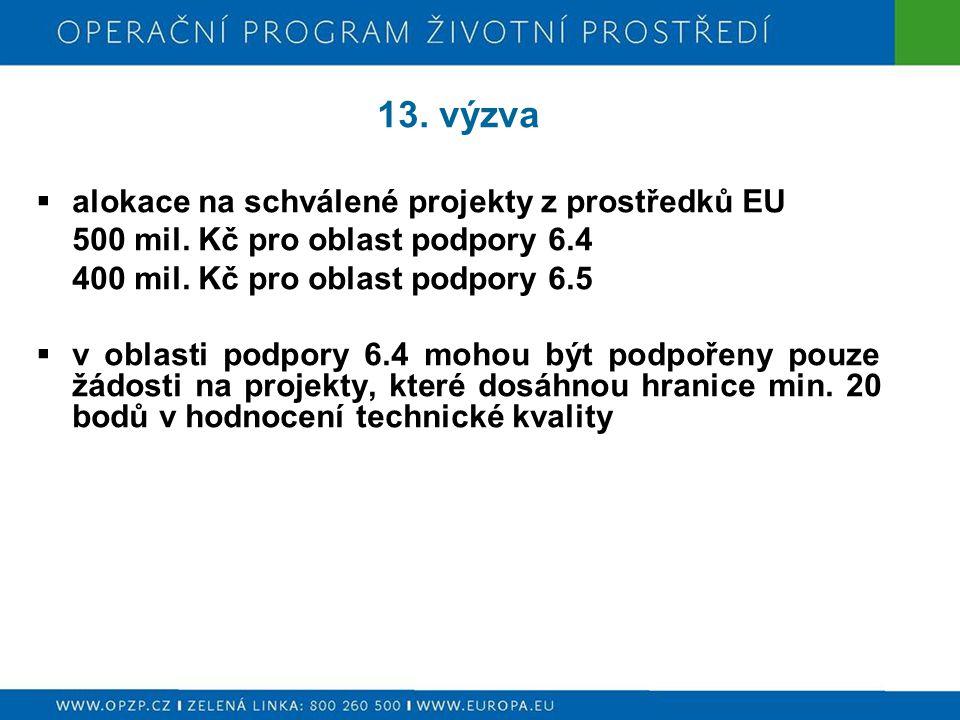 13. výzva  alokace na schválené projekty z prostředků EU 500 mil.