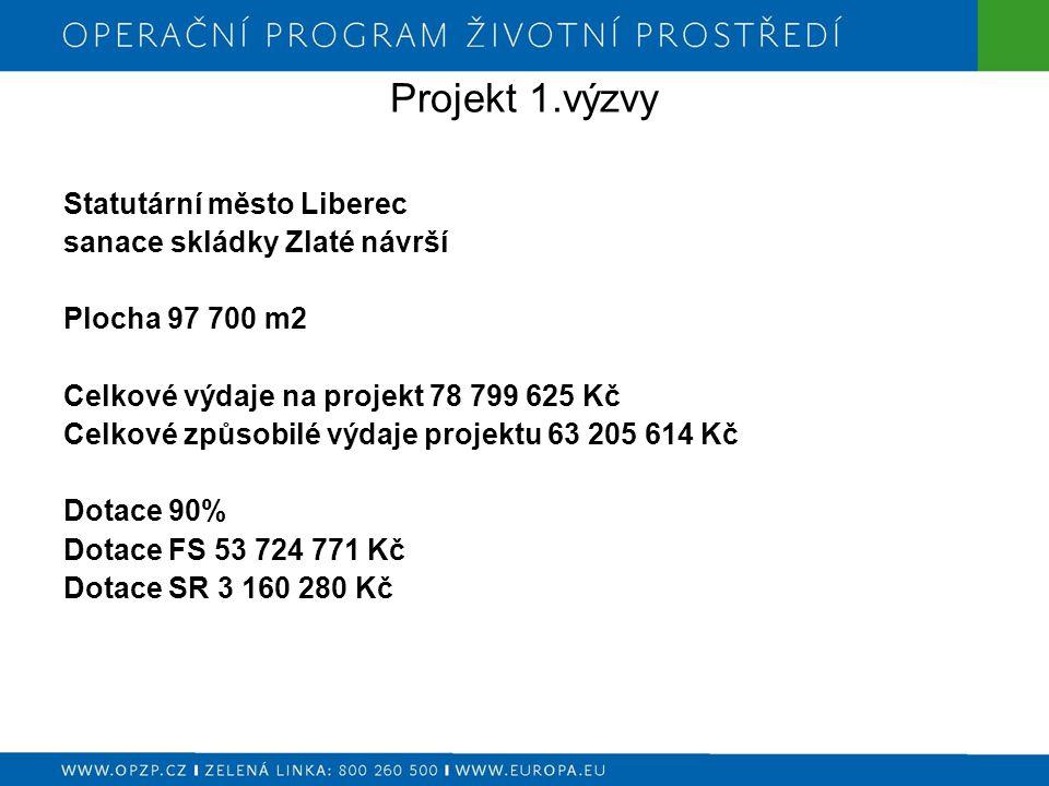 Projekt 1.výzvy Statutární město Liberec sanace skládky Zlaté návrší Plocha 97 700 m2 Celkové výdaje na projekt 78 799 625 Kč Celkové způsobilé výdaje projektu 63 205 614 Kč Dotace 90% Dotace FS 53 724 771 Kč Dotace SR 3 160 280 Kč