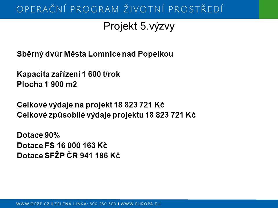 Projekt 5.výzvy Sběrný dvůr Města Lomnice nad Popelkou Kapacita zařízení 1 600 t/rok Plocha 1 900 m2 Celkové výdaje na projekt 18 823 721 Kč Celkové způsobilé výdaje projektu 18 823 721 Kč Dotace 90% Dotace FS 16 000 163 Kč Dotace SFŽP ČR 941 186 Kč