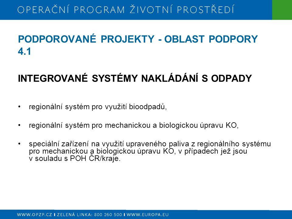 PODPOROVANÉ PROJEKTY - OBLAST PODPORY 4.1 INTEGROVANÉ SYSTÉMY NAKLÁDÁNÍ S ODPADY regionální systém pro využití bioodpadů, regionální systém pro mechanickou a biologickou úpravu KO, speciální zařízení na využití upraveného paliva z regionálního systému pro mechanickou a biologickou úpravu KO, v případech jež jsou v souladu s POH ČR/kraje.