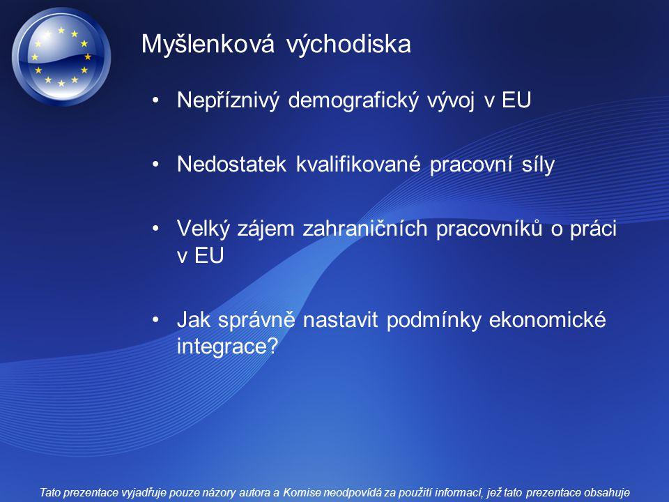 Myšlenková východiska Nepříznivý demografický vývoj v EU Nedostatek kvalifikované pracovní síly Velký zájem zahraničních pracovníků o práci v EU Jak s
