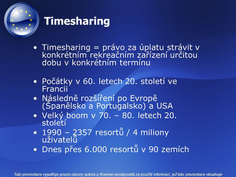 Timesharing Timesharing = právo za úplatu strávit v konkrétním rekreačním zařízení určitou dobu v konkrétním termínu Počátky v 60. letech 20. století