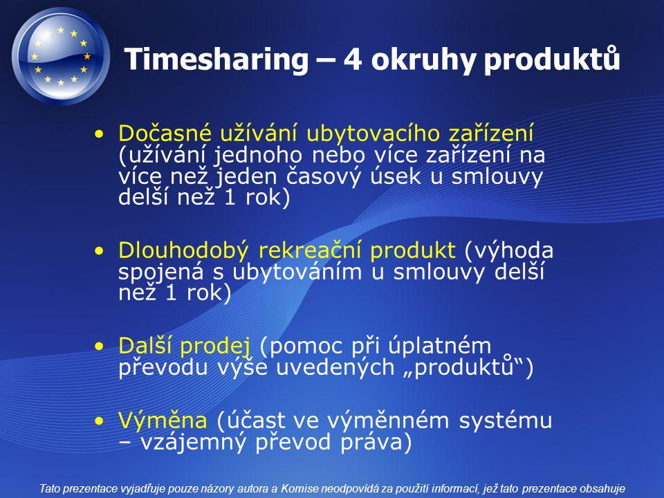 Timesharing – 4 okruhy produktů Dočasné užívání ubytovacího zařízení (užívání jednoho nebo více zařízení na více než jeden časový úsek u smlouvy delší