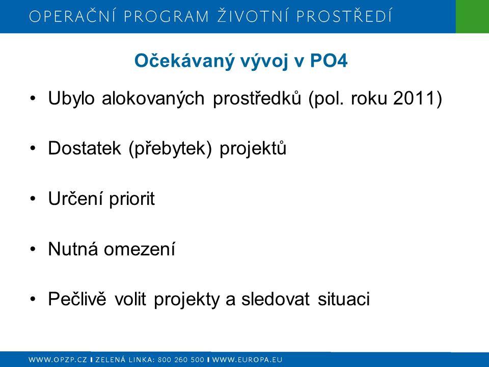 Očekávaný vývoj v PO4 Ubylo alokovaných prostředků (pol. roku 2011) Dostatek (přebytek) projektů Určení priorit Nutná omezení Pečlivě volit projekty a