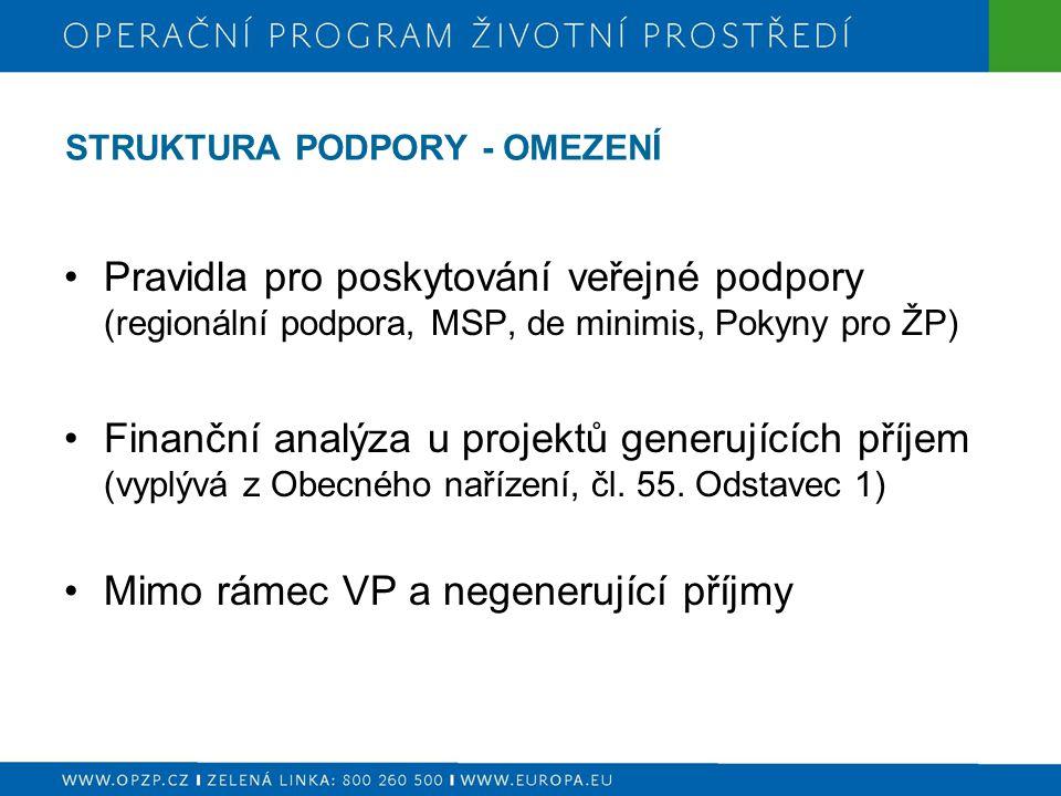 STRUKTURA PODPORY - OMEZENÍ Pravidla pro poskytování veřejné podpory (regionální podpora, MSP, de minimis, Pokyny pro ŽP) Finanční analýza u projektů