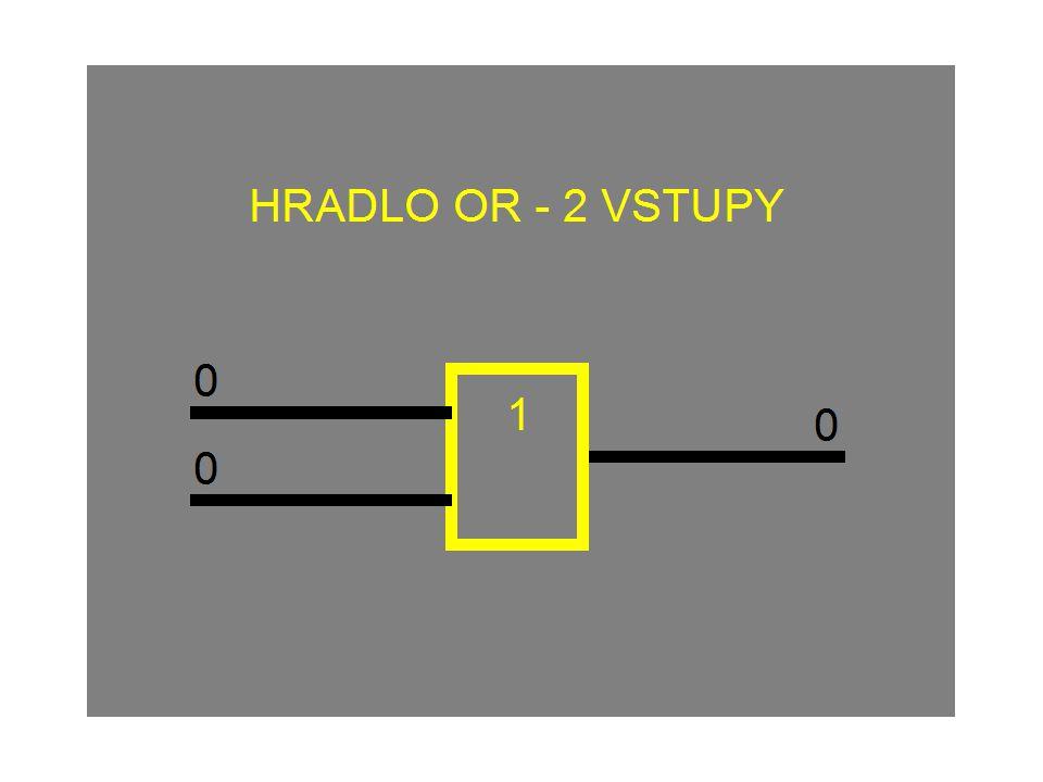 HRADLO OR (nebo) 1 Na výstupu je logická 1 tehdy, je-li alespoň na jednom vstupu logická 1.