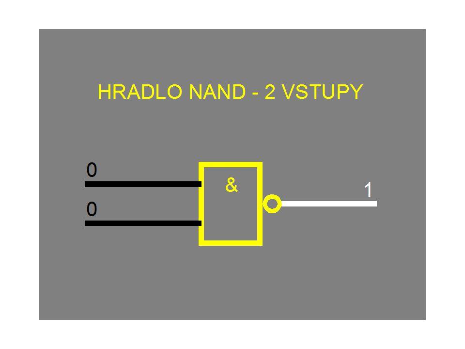 HRADLO NAND (negované a, i) 0 Na výstupu je logická 0 pouze tehdy, je-li na obou (všech) vstupech logická 1.
