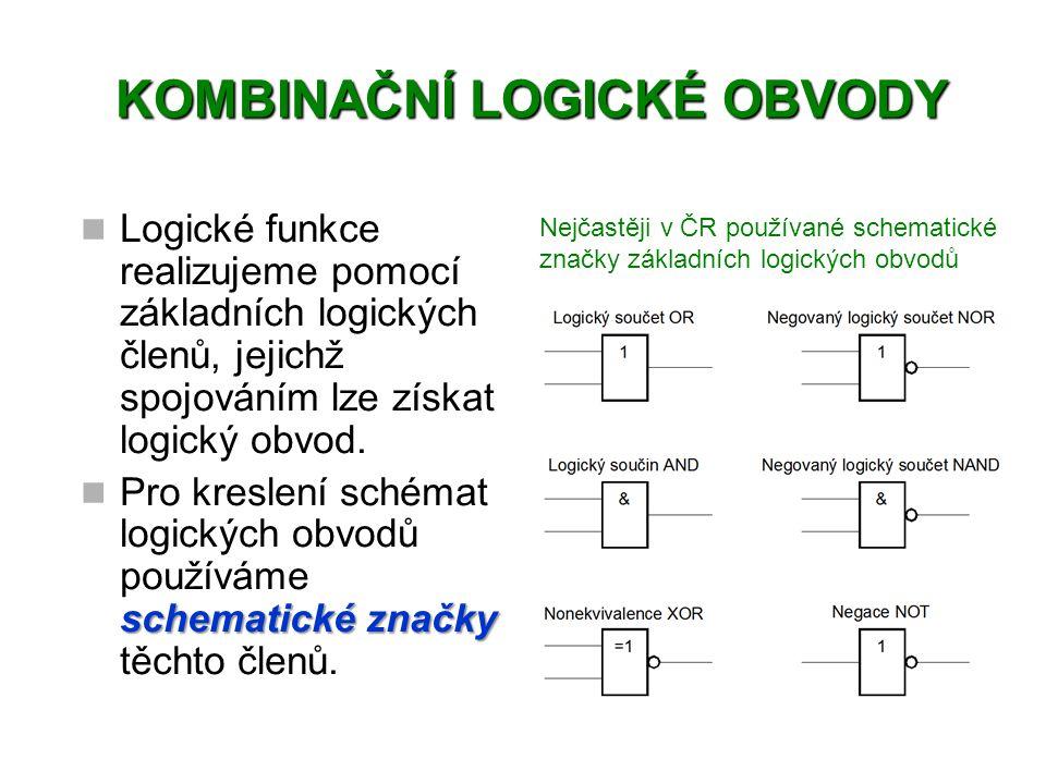 Logické funkce realizujeme pomocí základních logických členů, jejichž spojováním lze získat logický obvod.
